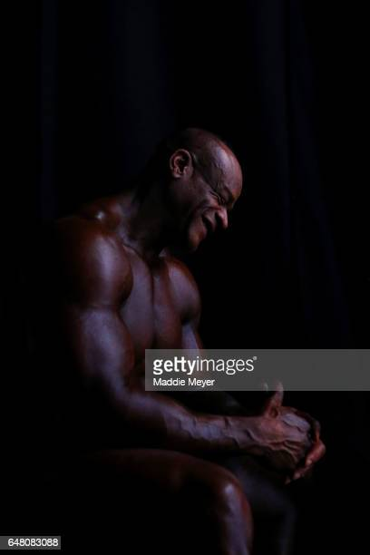 Will Harris of the United States sits backstage during the Arnold Classic at the Greater Columbus Convention Center during the Arnold Sports Festival...
