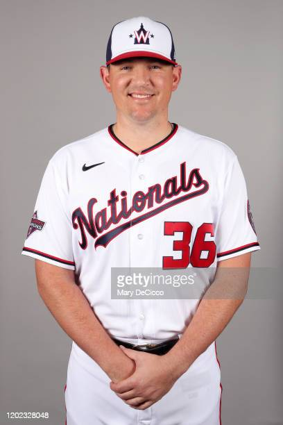 Will Harris of the Washington Nationals poses during Photo Day on Friday February 21 2020 at the FITTEAM Ballpark of the Palm Beaches in West Palm...