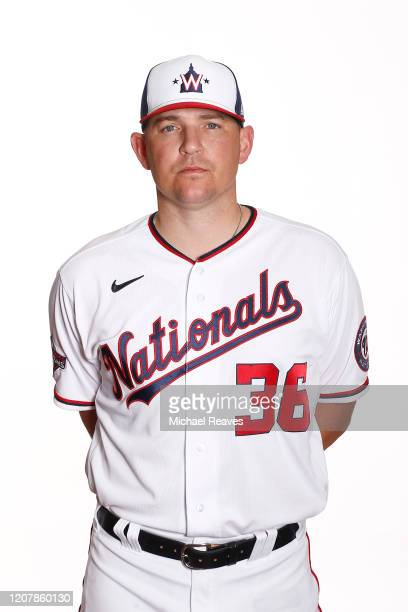 Will Harris of the Washington Nationals poses for a photo during Photo Day at FITTEAM Ballpark of the Palm Beaches on February 21 2020 in West Palm...