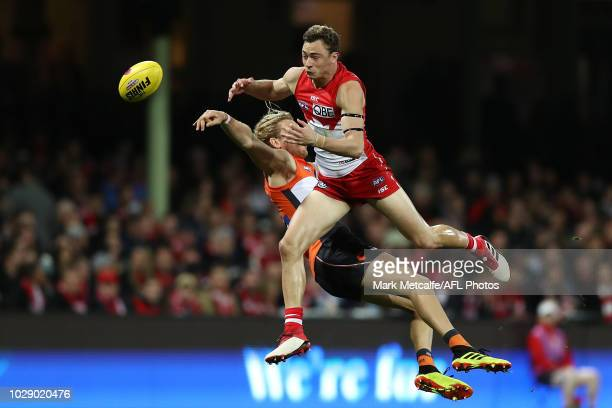 Will Hayward of the Swans competes for a mark during the AFL Second Elimination Final match between the Sydney Swans and the GWS Giants at Sydney...