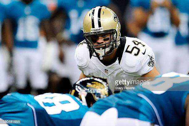 Will Herring of the New Orleans Saints looks into the Jacksonville Jaguars backfield during a preseason game at MercedesBenz Superdome on August 17...