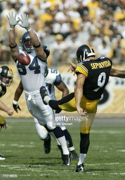 Will Herring of the Seattle Seahawks unsuccessfully attempts to block a punt by Daniel Supulveda of the Pittsburgh Steelers on October 7 2007 at...