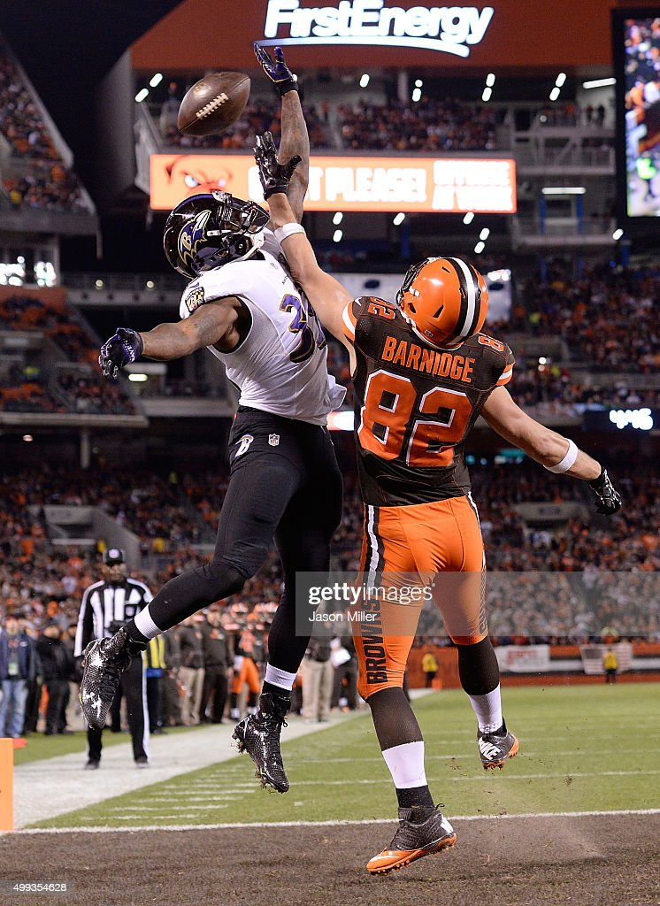 Will Hill #33 of the Baltimore Ravens breaks up a pass intended for Gary Barnidge #82 of the Cleveland Browns during the second quarter at FirstEnergy Stadium on November 30, 2015 in Cleveland, Ohio.