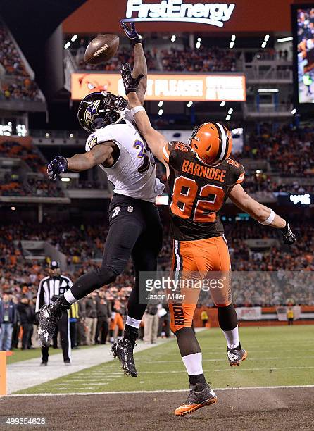 Will Hill of the Baltimore Ravens breaks up a pass intended for Gary Barnidge of the Cleveland Browns during the second quarter at FirstEnergy...
