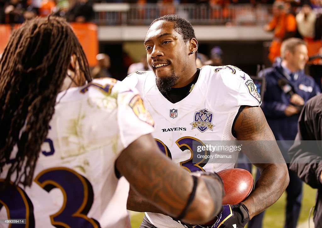 Will Hill #33 of the Baltimore Ravens celebrates his return of a blocked field goal for a touchdown during the fourth quarter against the Cleveland Browns at FirstEnergy Stadium on November 30, 2015 in Cleveland, Ohio. Baltimore won the game 33-27.