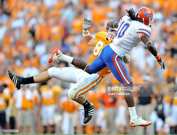 Will Hill of the Florida Gators breaks up a pass intended for Zach Rogers of the Tennessee Volunteers at Neyland Stadium on September 18, 2010 in...