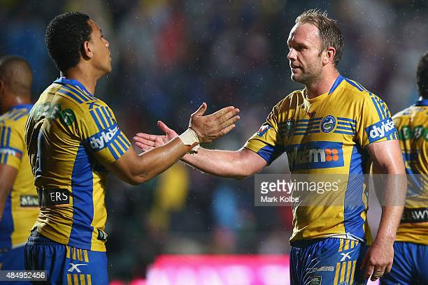 Will Hopoate and David Gower of the Eels celebrate victory during the round 24 NRL match between the Manly Warringah Sea Eagles and the Parramatta...