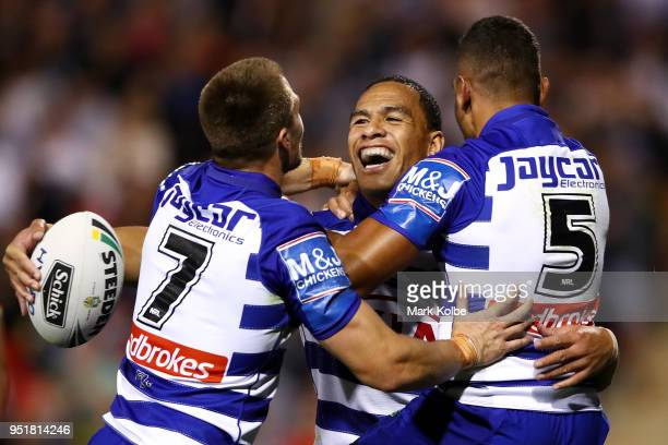 Will Hopoate of the Bulldogs celebrates scoring a try with team mates during the NRL round eight match between the Penrith Panthers and Canterbury...