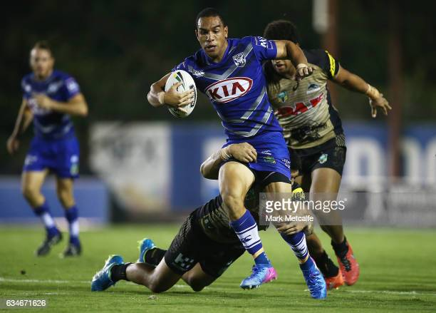 Will Hopoate of the Bulldogs is tackled during the NRL Trial match between the Canterbury Bulldogs and the Penrith Panthers at Belmore Sports Ground...