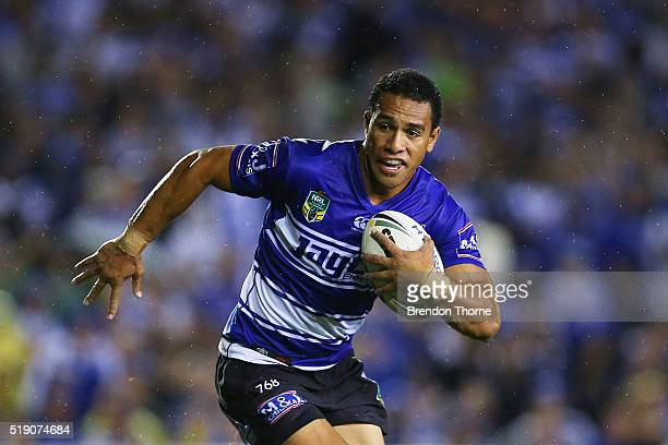 Will Hopoate of the Bulldogs runs the ball during the round five NRL match between the Canterbury Bulldogs and the Canberra Raiders at Belmore Sports...