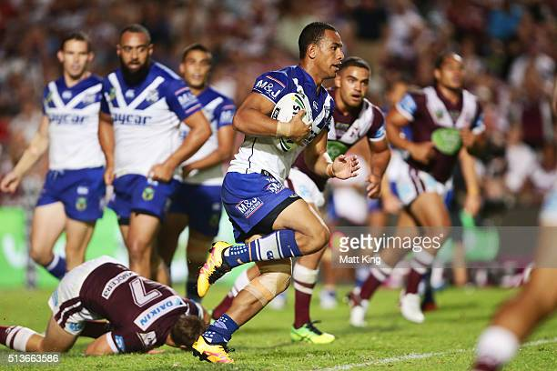 Will Hopoate of the Bulldogs runs with the ball during the round one NRL match between the Manly Warringah Sea Eagles and the Canterbury Bulldogs at...