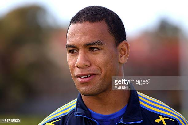 Will Hopoate speaks to the media during a Parramatta Eels NRL media session at Old Saleyards Reserve on July 24 2015 in Sydney Australia