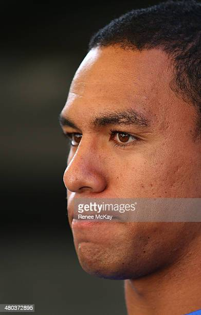 Will Hopoate talks to the media during a Parramatta Eels NRL recovery session at Pirtek Stadium on March 25 2014 in Sydney Australia