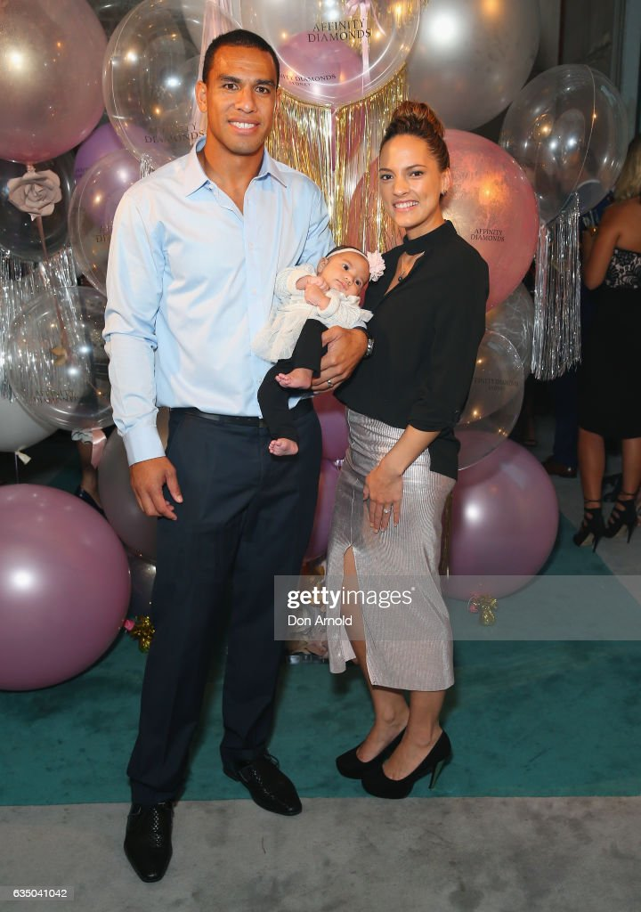 Will Hopoate, wife Jimicina and daughter Alaiah arrive ahead of the Affinity Diamonds Launch Event on February 13, 2017 in Sydney, Australia.