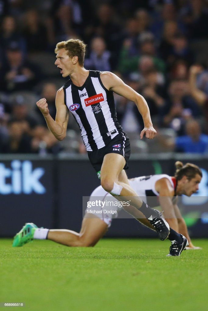 Will Hoskin-Elliott of the Magpies celebrates a goal during the round four AFL match between the Collingwood Magpies and the St Kilda Saints at Etihad Stadium on April 16, 2017 in Melbourne, Australia.