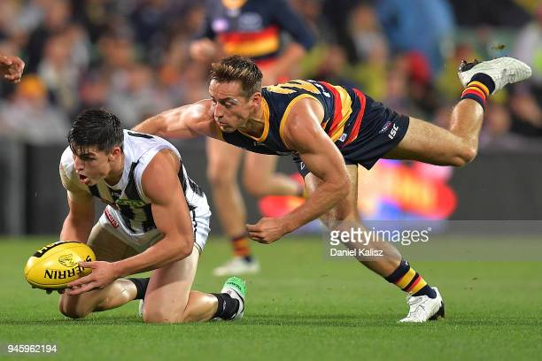 Will HoskinElliott of the Magpies competes for the ball with Richard Douglas of the Crows during the round four AFL match between the Adelaide Crows...