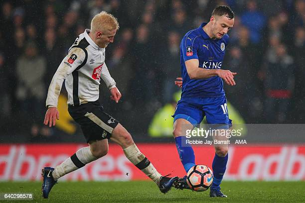 Will Hughes of Derby County and Andy King of Leicester City during the Emirates FA Cup Fourth Round match between Derby County and Leicester City at...