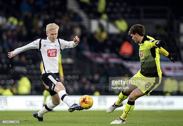 Will Hughes of Derby County and John Swift of Reading in action during the Sky Bet Championship match between Derby County and Reading at the iPro...