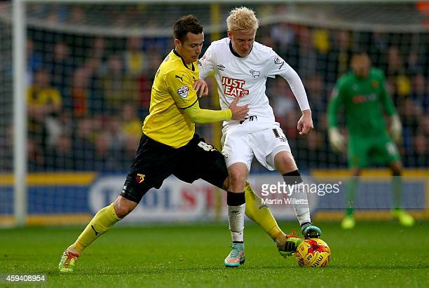 Will Hughes of Derby County battles for the ball with Daniel Tozser of Watford during the Sky Bet Championship match between Watford and Derby County...