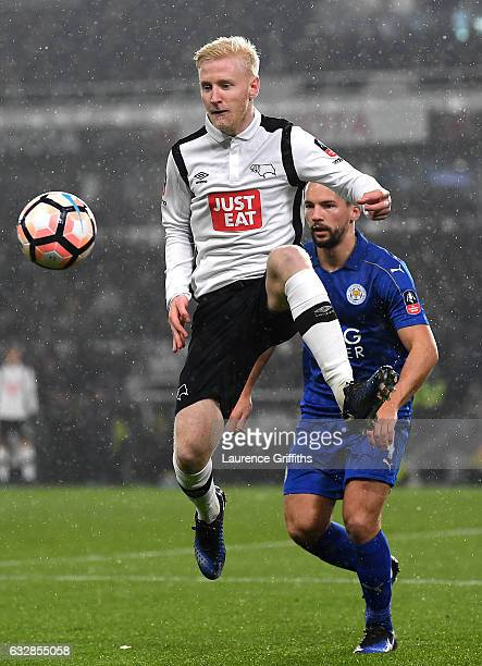 Will Hughes of Derby County controlls the ball during The Emirates FA Cup Fourth Round match between Derby County and Leicester City at iPro Stadium...