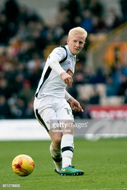 Will Hughes of Derby County in action during the Sky Bet Championship match between Wolverhampton Wanderers and Derby County at Molineux Stadium on...