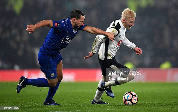 Will Hughes of Derby County is chased by Daniel Drinkwater of Leicester City during The Emirates FA Cup Fourth Round match between Derby County and...