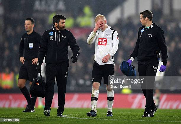 Will Hughes of Derby County leaves the pitch following an injury during The Emirates FA Cup Fourth Round match between Derby County and Leicester...