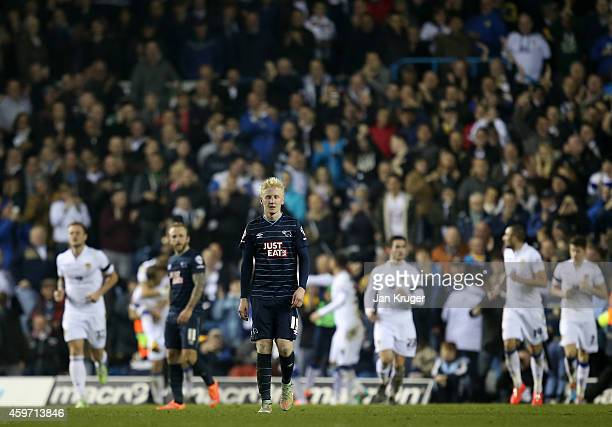 Will Hughes of Derby County looks on dejected after conceding a second goal during the Sky Bet Championship match between Leeds United and Derby...