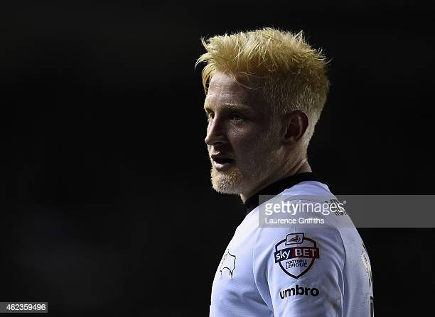 Will Hughes of Derby County looks on during the Sky Bet Championship match between Derby County and Blackburn Rovers at iPro Stadium on January 27...