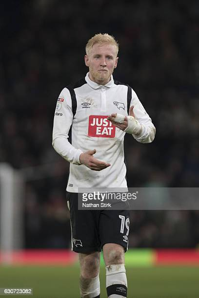 Will Hughes of Derby County looks on during the Sky Bet Championship match between Derby County and Wigan Athletic at iPro Stadium on December 31...
