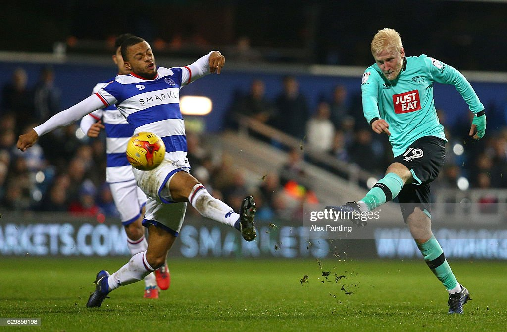 Will Hughes of Derby County shoots on goal during the Sky Bet Championship match between Queens Park Rangers and Derby County at Loftus Road on December 14, 2016 in London, England.