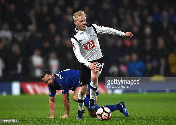 Will Hughes of Derby County skips past Daniel Drinkwater of Leicester City during The Emirates FA Cup Fourth Round match between Derby County and...