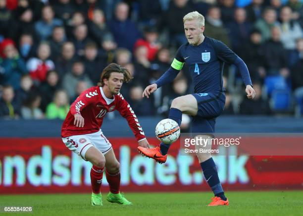 Will Hughes of England controls the ball from Lucas Andersen of Denmark during the U21 international friendly match between Denmark and England at...