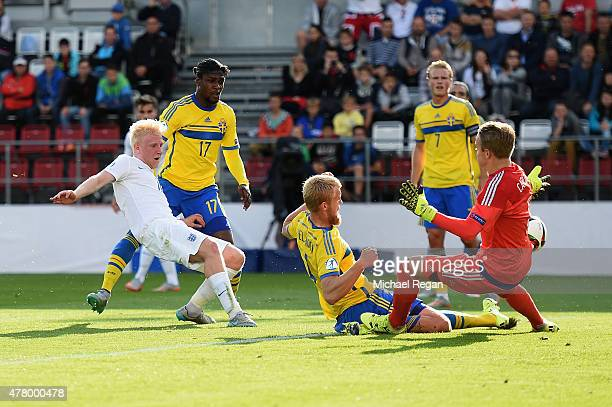 Will Hughes of England has a shot at goal during the UEFA Under21 European Championship 2015 match between Sweden and England at Andruv Stadium on...
