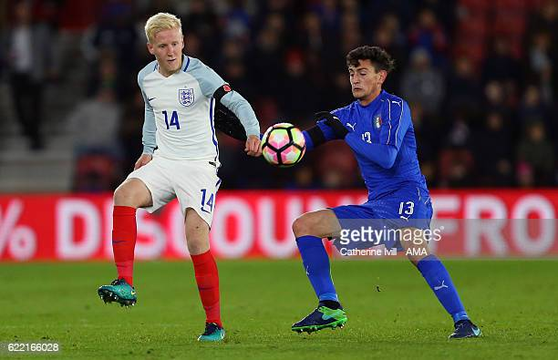 Will Hughes of England U21 and Alex Ferrari of Italy U21 during the U21 International Friendly match between England and Italy at St Mary's Stadium...