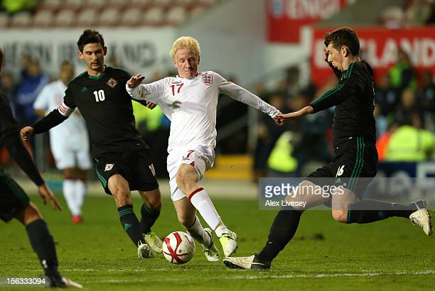 Will Hughes of England U21 is challenged by Shane McEleney of Northern Ireland U21 during the International Friendly Match between England U21 and...