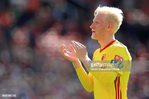 Will Hughes of Watford applauds the support during the Premier League match between Manchester United and Watford at Old Trafford on May 13 2018 in...
