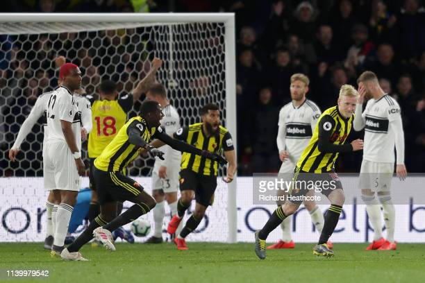 Will Hughes of Watford celebrates after scoring his team's second goal during the Premier League match between Watford FC and Fulham FC at Vicarage...