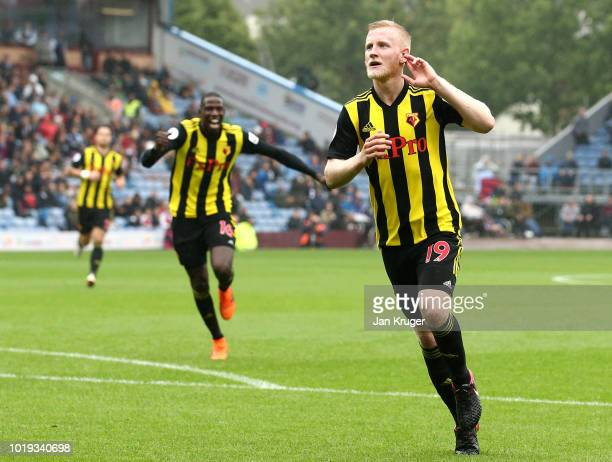Will Hughes of Watford celebrates after scoring his team's third goal during the Premier League match between Burnley FC and Watford FC at Turf Moor...