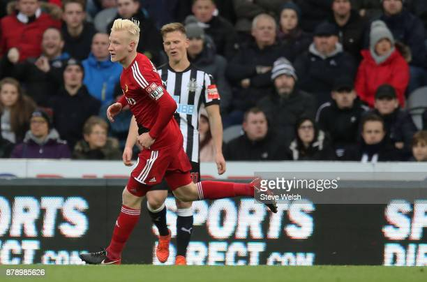 Will Hughes of Watford celebrates scoring his sides first goal during the Premier League match between Newcastle United and Watford at St James Park...