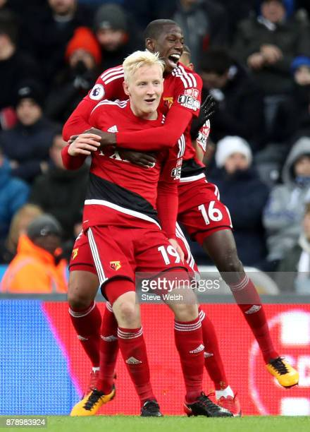 Will Hughes of Watford celebrates scoring his sides first goal with Abdoulaye Doucoure of Watford during the Premier League match between Newcastle...