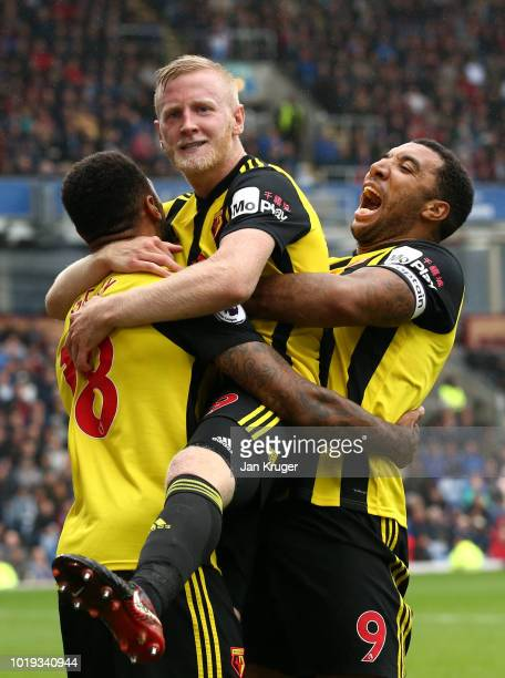 Will Hughes of Watford celebrates with teammates after scoring his team's third goal during the Premier League match between Burnley FC and Watford...
