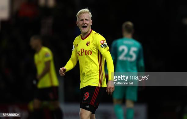 Will Hughes of Watford during the Premier League match between Watford and West Ham United at Vicarage Road on November 19 2017 in Watford England