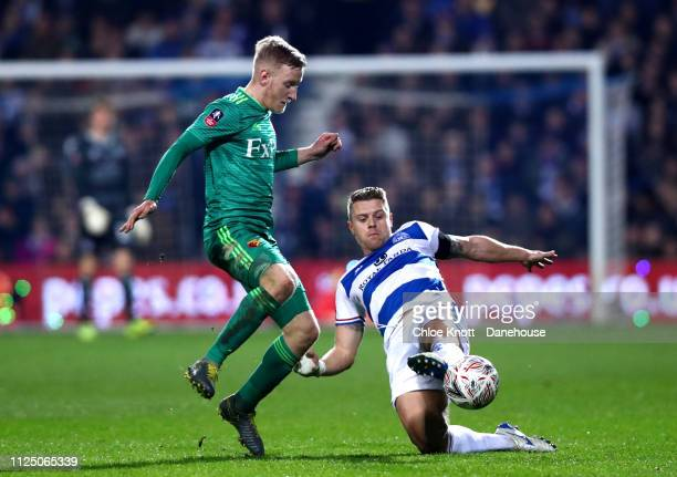 Will Hughes of Watford FC and Jake Bidwell of Queens Park Rangers in action during the FA Cup Fifth Round match between Queens Park Rangers and...