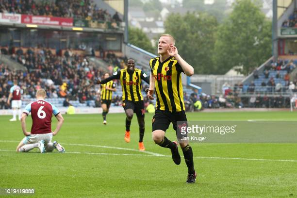 Will Hughes of Watford FC celebrates his goal during the Premier League match between Burnley FC and Watford FC at Turf Moor on August 19 2018 in...