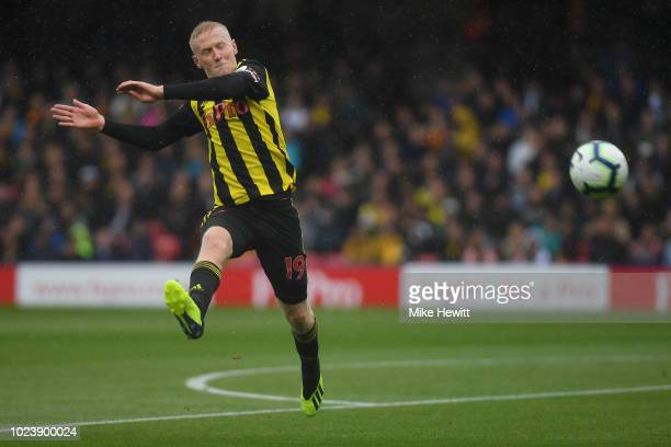 Will Hughes of Watford in action during the Premier League match between Watford FC and Crystal Palace at Vicarage Road on August 26 2018 in Watford...
