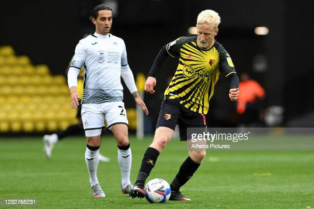 Will Hughes of Watford in action during the Sky Bet Championship match between Watford and Swansea City at Vicarage Road on May 08, 2021 in Watford,...