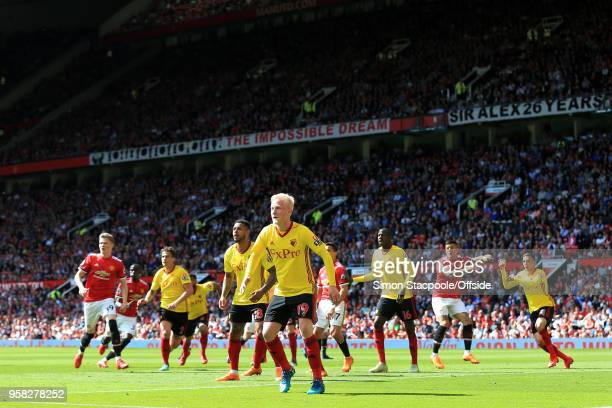 Will Hughes of Watford leads their defence during the Premier League match between Manchester United and Watford at Old Trafford on May 13 2018 in...