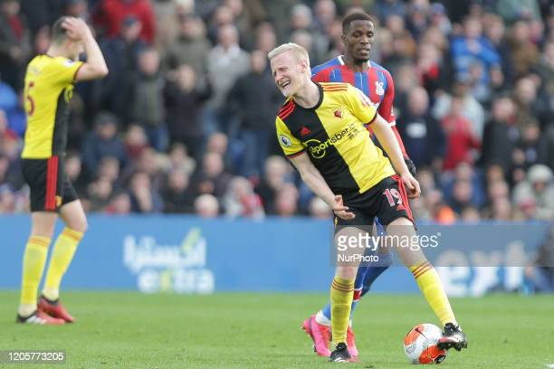 Will Hughes of Watford reacts during the Premier League match between Crystal Palace and Watford at Selhurst Park London on Saturday 7th March 2020