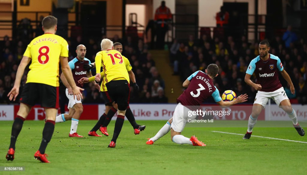 Will Hughes of Watford (19) scores their first goal during the Premier League match between Watford and West Ham United at Vicarage Road on November 19, 2017 in Watford, England.